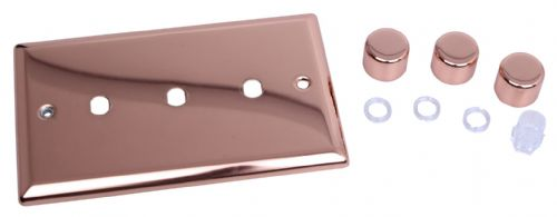 Varilight WYD3.CU Urban Polished Copper 3 Gang Dimmer Plate Only + Dimmer Knobs